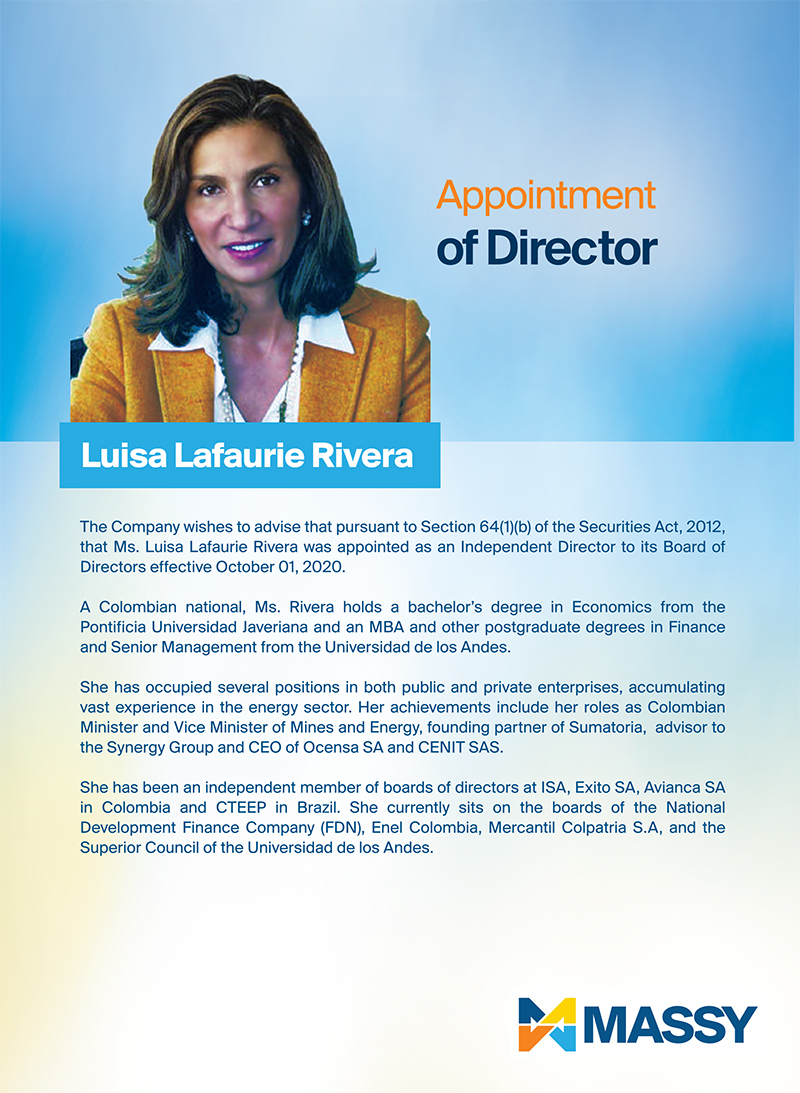 Appointment Of Director - Luisa Lafaurie Rivera